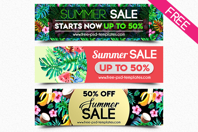 Free Summer Sale Banner in PSD Free PSD Templates
