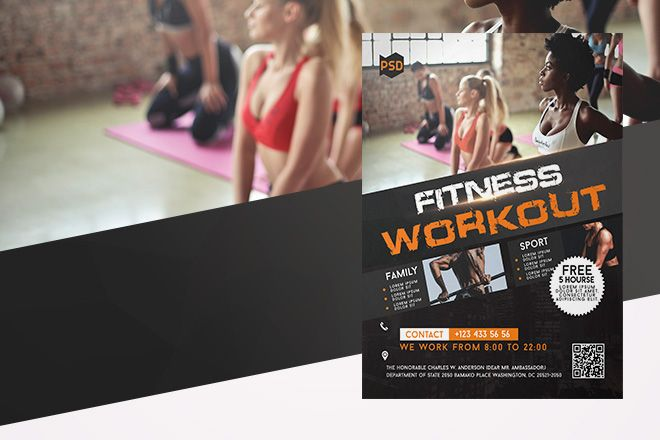 Free Fitness Workout Flyer in PSD Free PSD Templates