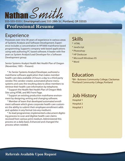Free Resume Templates - Download Microsoft Word Resumes Samples - Free Resume Microsoft Word Templates