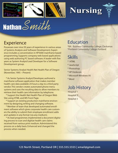 modern resume for a nurse