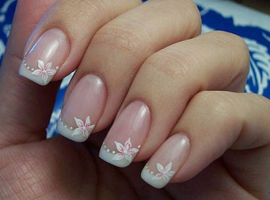 French Tip Nail Art Design Flowers