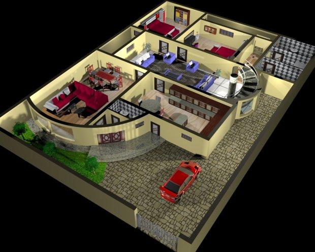 house plan and Interior Design 3d - 3d model - max - 3d house plans