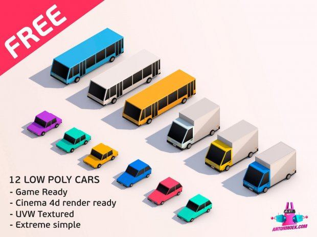 Cartoon Low Poly City Cars Pack Free 3D Model -  - Free3D
