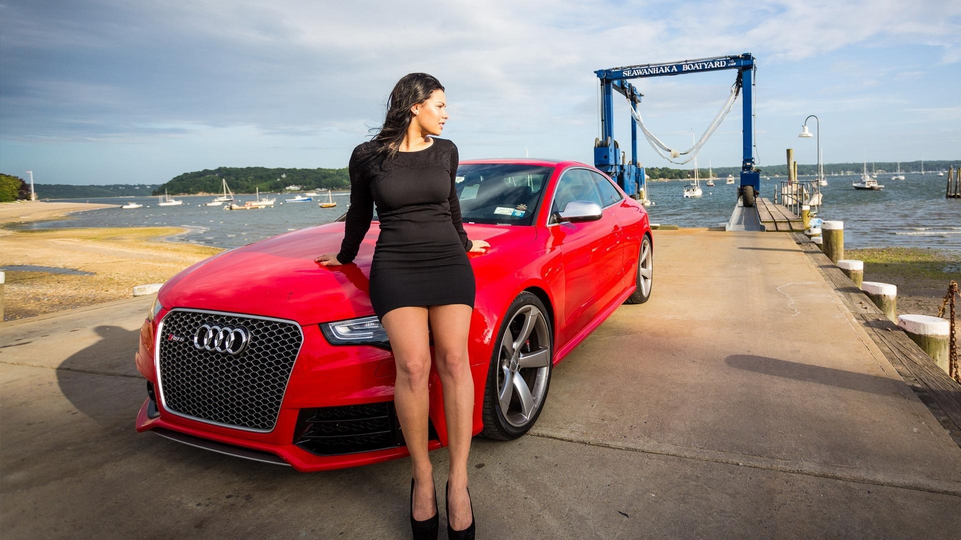 Free Wallpaper Cars And Beautiful Ladies Ferrari Red Audi Girl Posing Hd Wallpaper