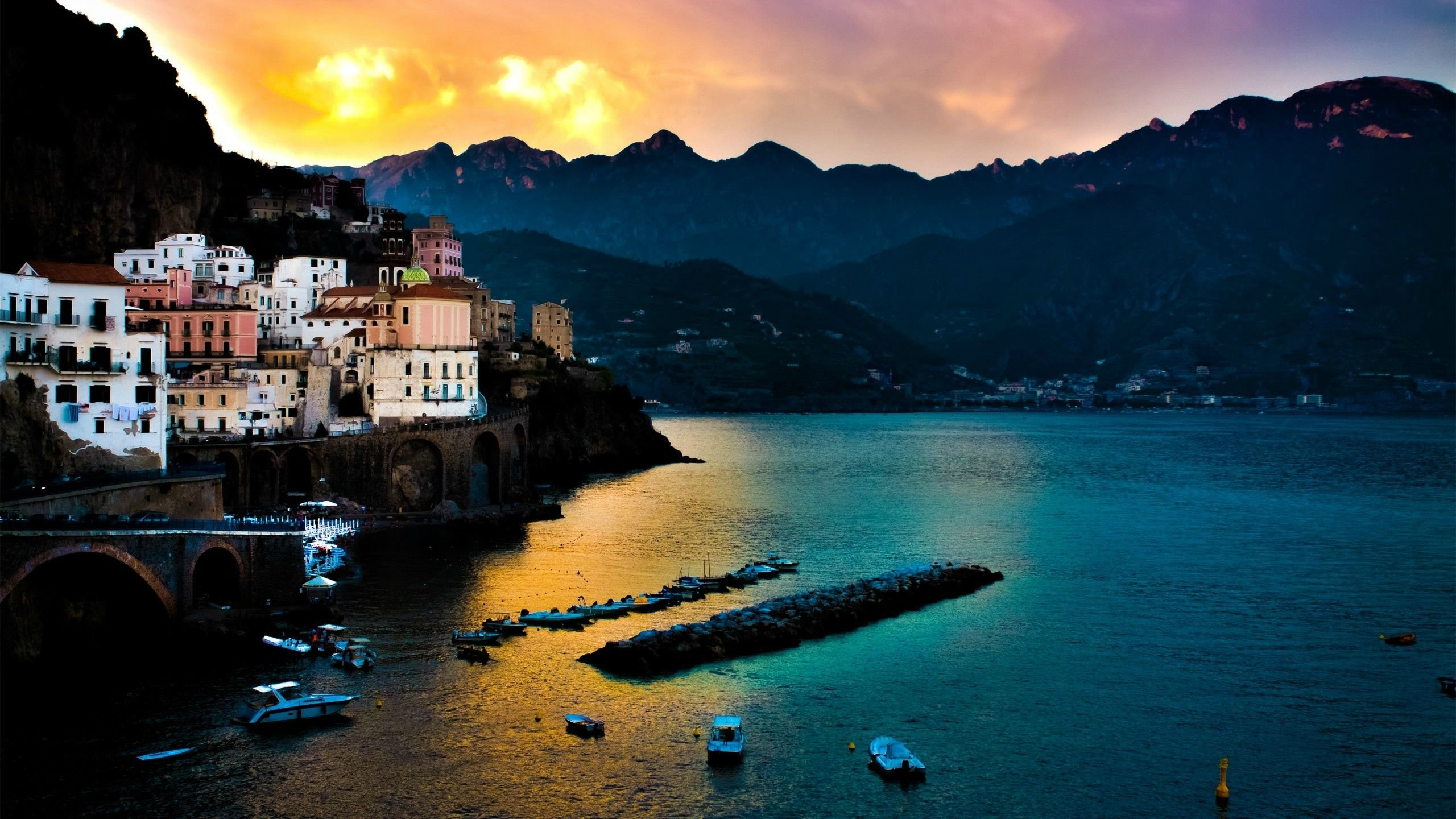 Black Wallpaper Galaxy S4 Amalfi Coast Landscape Hd Wallpaper