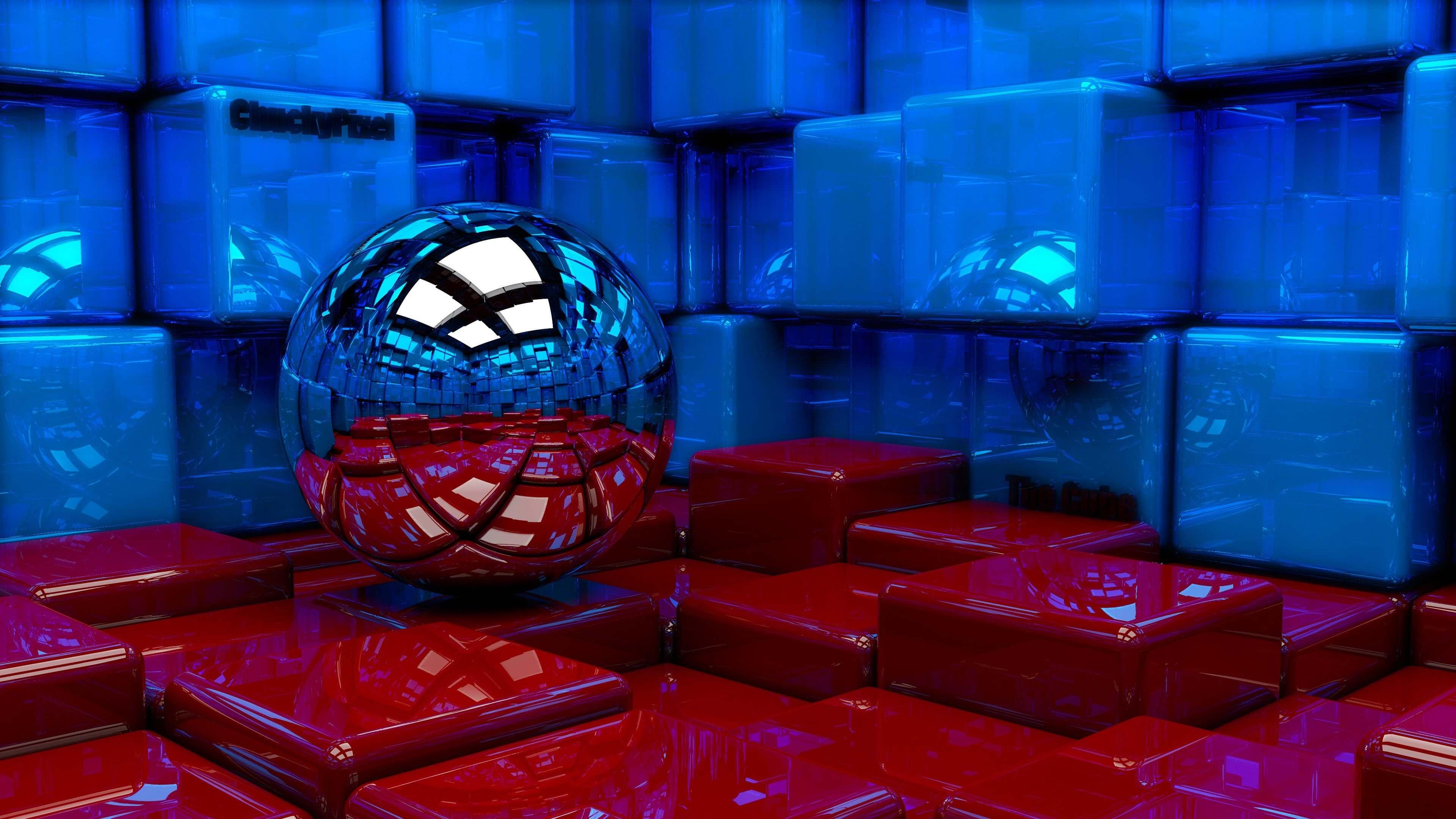 3d Cube Wallpaper Phone Metallic Sphere Reflecting The Cube Room 4k Wallpaper