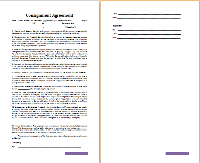 Ms Word Consignment Agreement Template | Free Agreement Templates