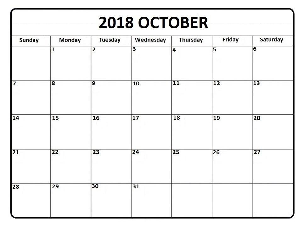 October 2018 Calendar * October 2018 Calendar Printable inside