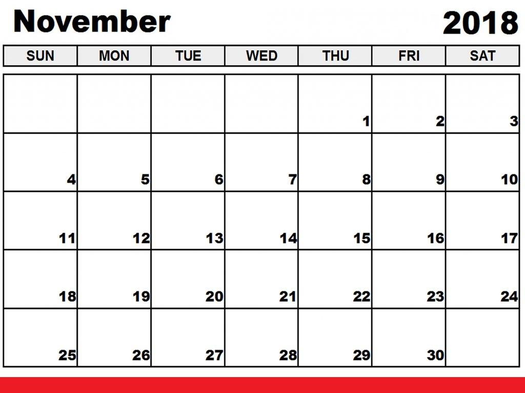 ✅ {99+} Free Download November 2018 Calendar Printable Templates