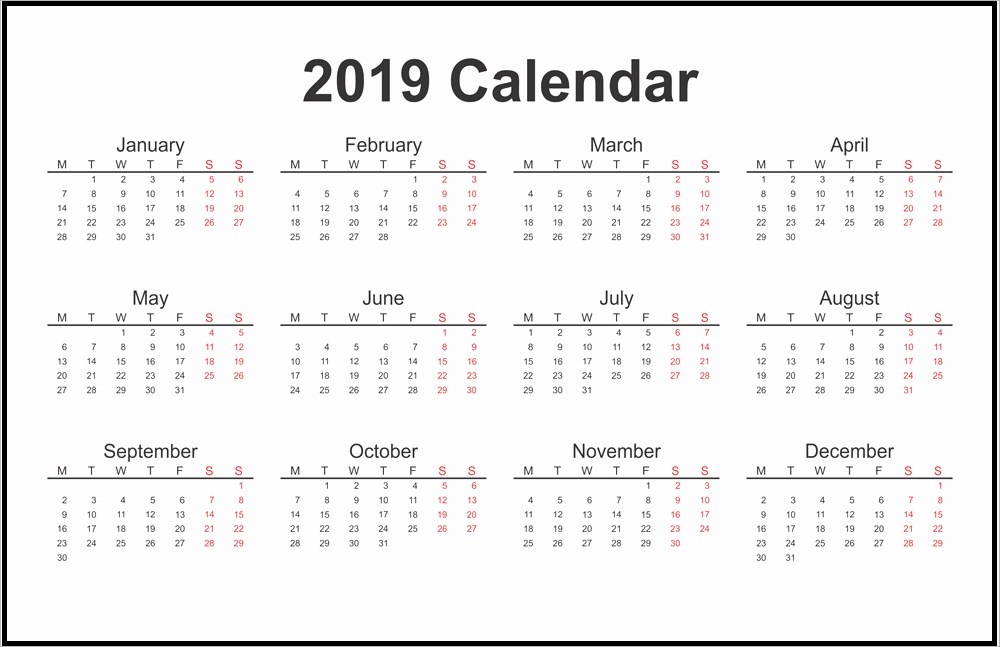 2019 Printable 12 Month One Page Calendar Template PDF Word Notes