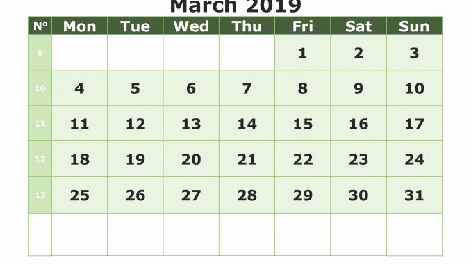 Monthly Blank Calendar Pages March 2019 Printable Template PDF