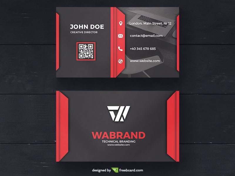 Red Corporate Business Card Template - Freebcard - Buisness Card Template