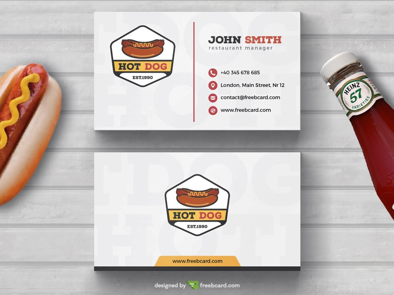 Hot-Dog Fast food Business Card Template Freebcard