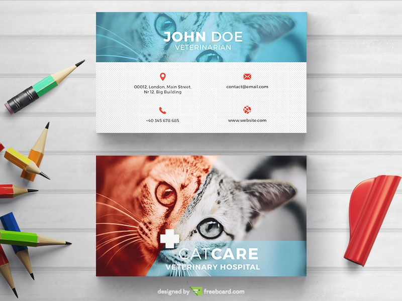 Veterinarian Business Card Freebcard
