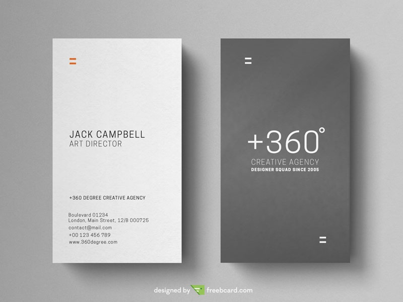 Grey And White Vertical Business Card - Freebcard
