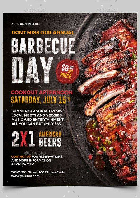 Free 20 Professional Premium  Flyer Templates In Psd For BBQ Lovers
