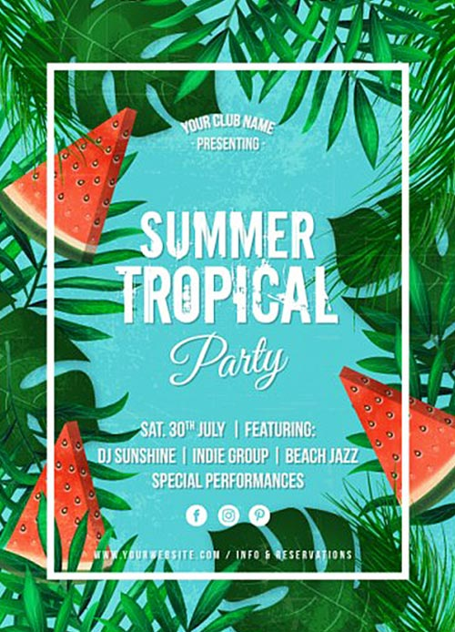 Tropical Summer Party Free Flyer Template FreebieDesignnet