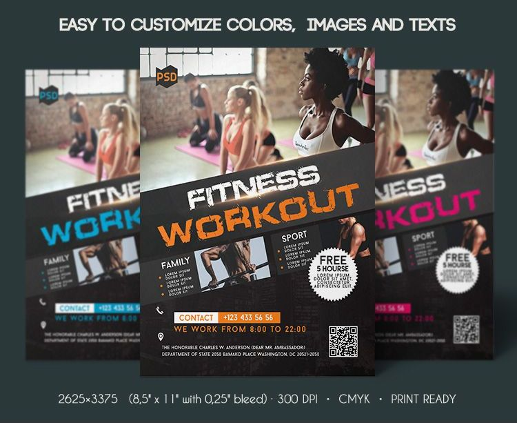 FREE FITNESS WORKOUT FLYER IN PSD FreebieDesignnet