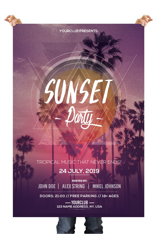 Sunset Party \u2013 Download Free PSD Flyer Templates - FreebieDesignnet