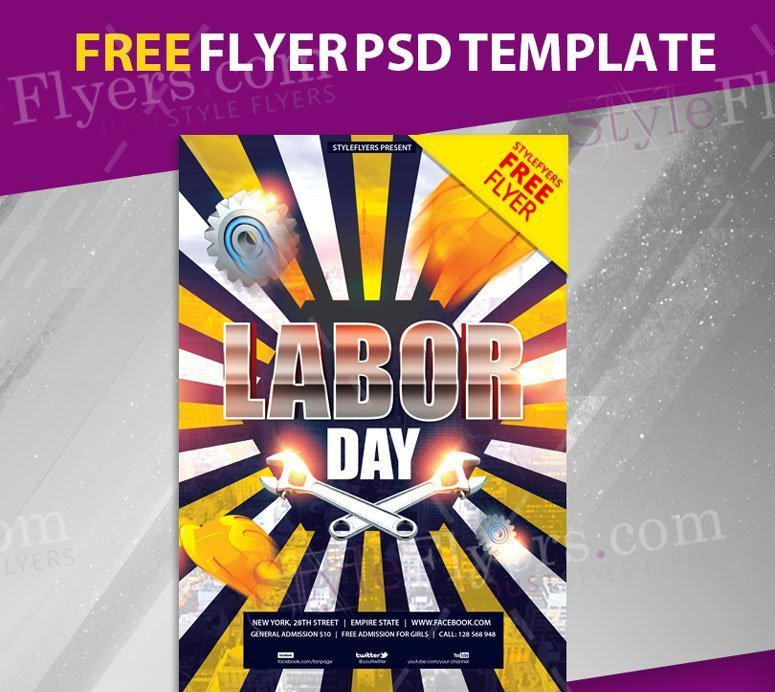 Labor Day Free PSD Flyer Template FreebieDesignnet