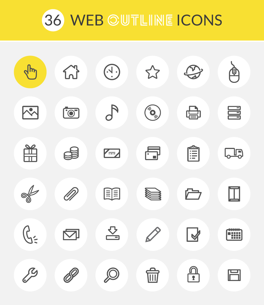 Free Web Outline Icons