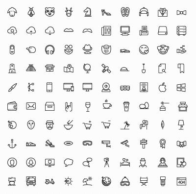 Free 100 IOS 8 Line Icons
