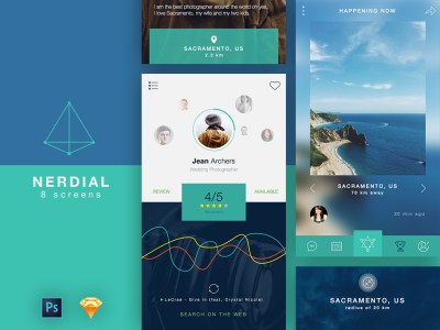 Free Nerdial App UI – 8 Screens for PS and Sketch