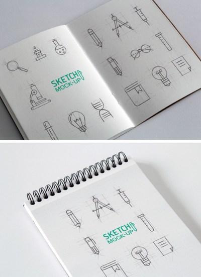 Free Sketchbook Mockups PSD