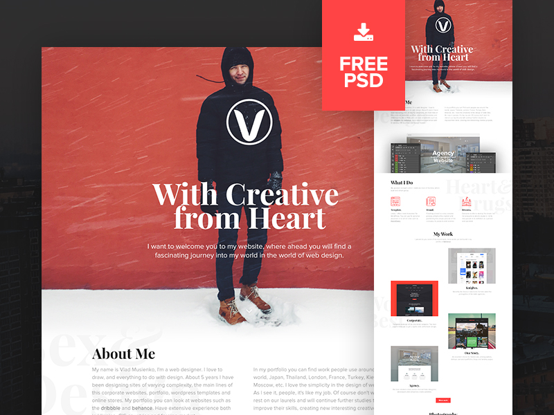 Free PSD Personal Website Redesign