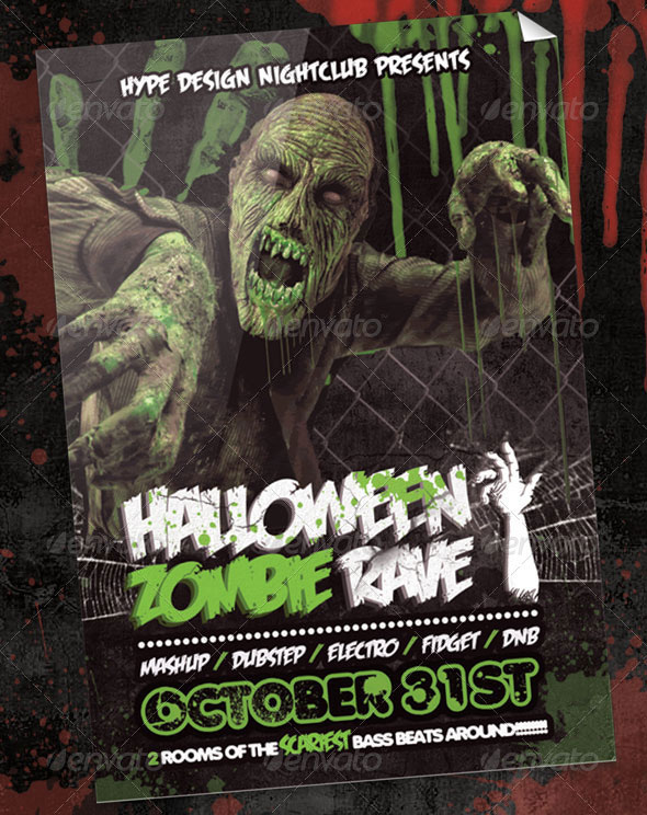31 Awesome Zombie Party Flyer Templates \u2013 Design Freebies