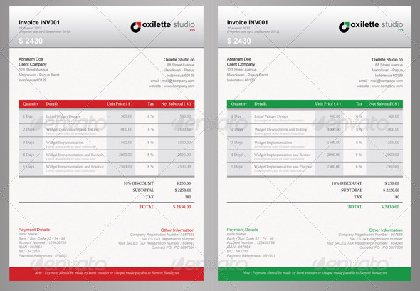 21 Useful Invoice InDesign Templates u2013 Design Freebies - graphic design invoice sample