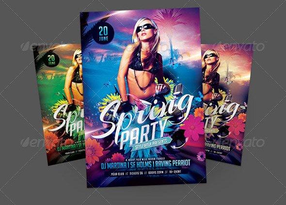17 Great Spring Break Party Flyer Templates \u2013 Design Freebies