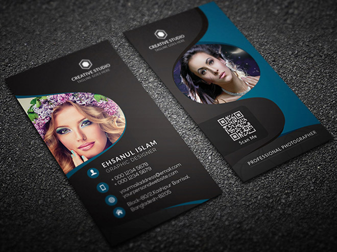 Free vertical photography business card template for Free photography business card template