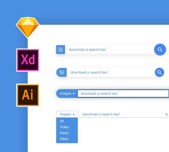 Search Bar UI Design for Sketch, Adobe Xd, Illustrator, and eps