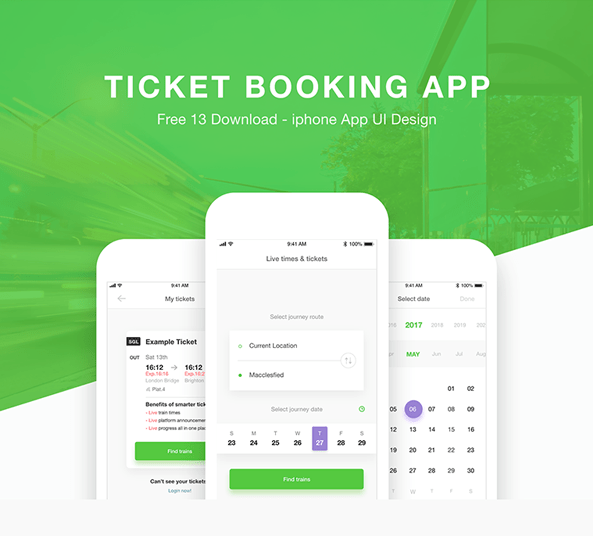 Mockup Mobile Iphone Ticket Booking App Design Ui Kit - Free Xd Download