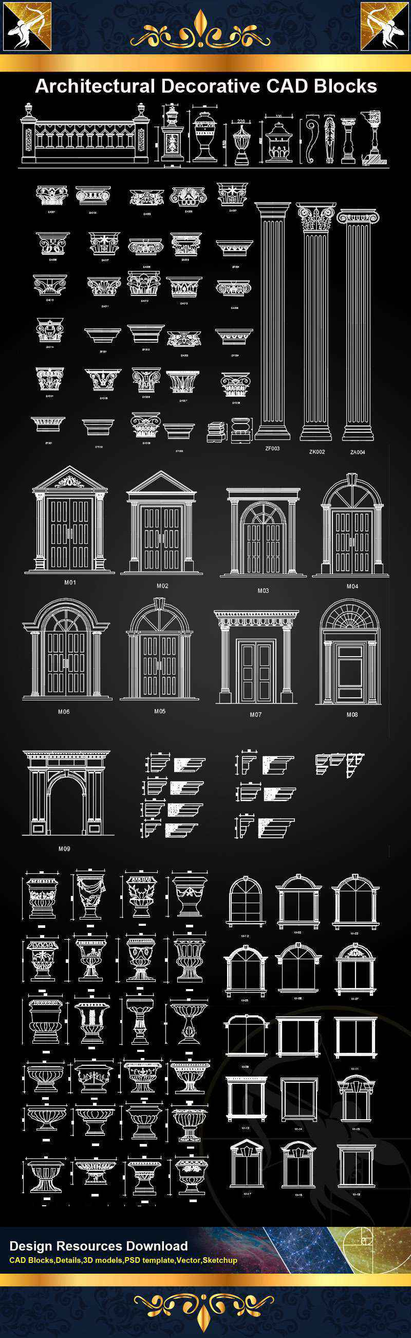 Autocad Blocks Architectural Decorative Cad Blocks Autocad Decoration Blocks Drawings Cad Details Elevation
