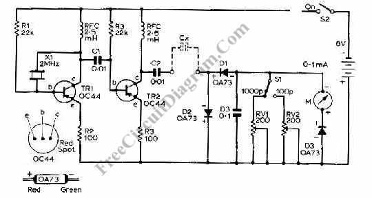capacitance meter circuit using transistors
