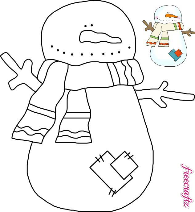 Snowman Template with a Scarf and Patches - FreeCraftz