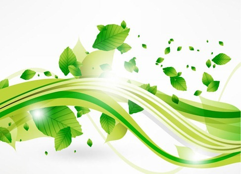 Eco Leaves and Green Wave vector free download