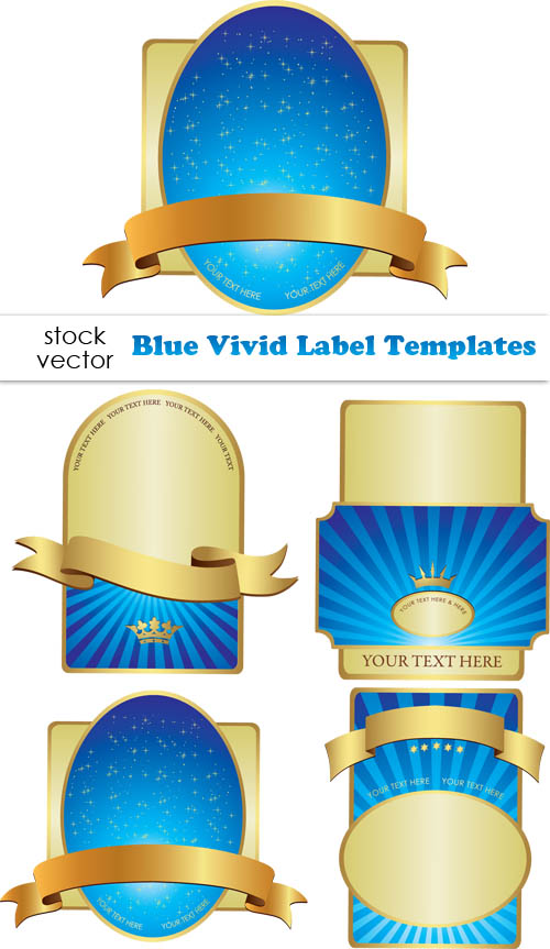 Blue vivid label design elements vector \u2013 Over millions vectors