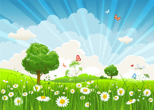 Vivid Spring elements vector background 05 free download