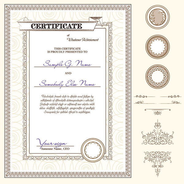 Certificate template and Decoration Borders design vector 03 free - free download certificate borders
