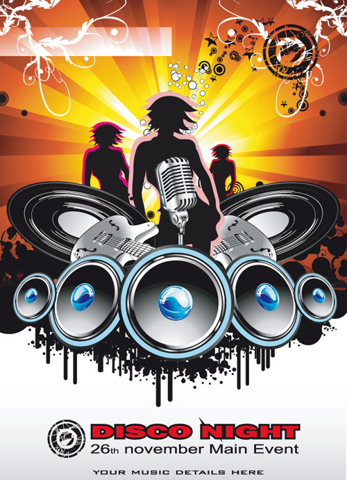 Bright Music Theme elements background vector 02 free download