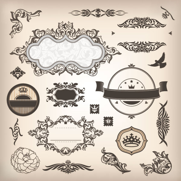 Vintage elements borders and labels vector 04 \u2013 Over millions