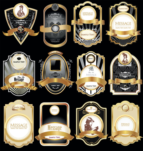 Golden luxurious Retro labels design vector 04 free download