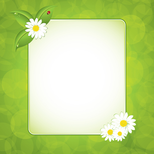 Green floral frame vector set 01 free download