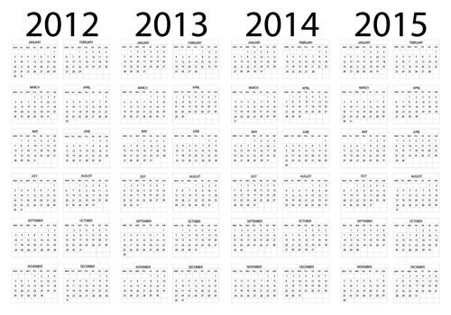 Set of 2013-2018 Calendars template vector graphic 01 free download