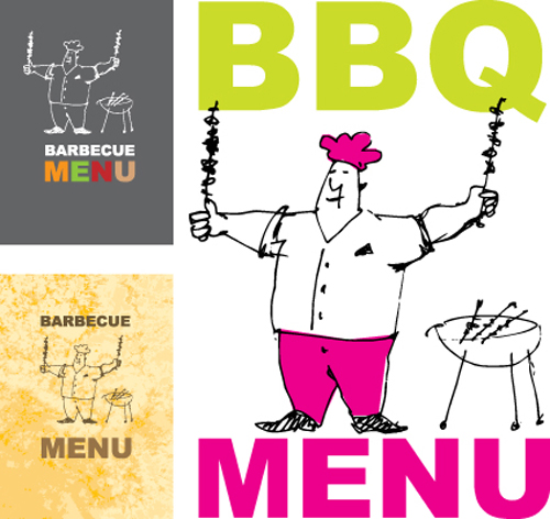 Chef with menu cover Templates vector graphic 05 free download