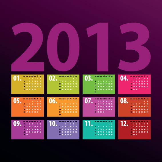 Creative 2013 Calendars design elements vector set 06 free download - calendar sample design