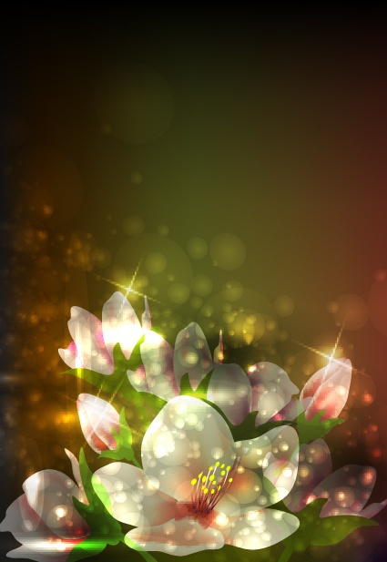 3d Emoticons Wallpapers Elements Of Glowing Flowers Design Vector 04 Free Download